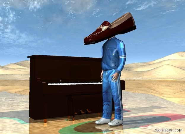 Input text: the very large shoe is 18 inches in the man. it is leaning forward. it is facing left.  the piano is a foot behind the man. the man is facing left.  the ground is shiny.  the red light and cyan light are 3 feet above the shoe.