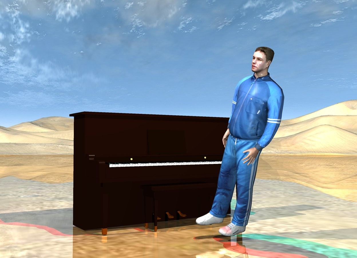 Input text:   the piano is a foot behind the man. the man is facing left. he is leaning 20 degrees to the left.   the ground is shiny.  the red light and cyan light are 3 feet above the man.