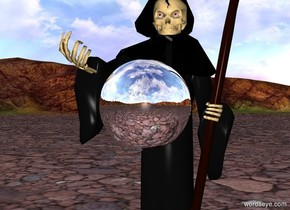 a silver sphere is in front of death. the sphere is 3 feet above the ground