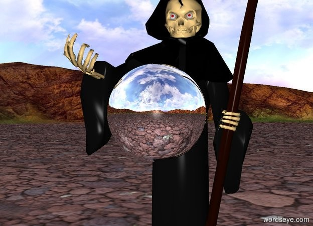 Input text: a silver sphere is in front of death. the sphere is 3 feet above the ground