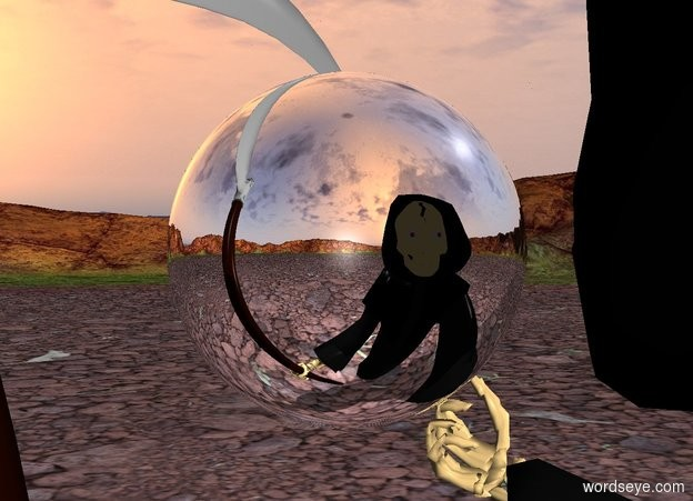 Input text: a silver sphere is -17 inches in front of death. the sphere is 4.5 feet above the ground