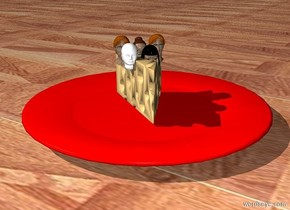 three very tiny heads in the cheese. two very tiny heads are in front of the heads. the cheese is on a plate. the ground is parquet. the plate is red.