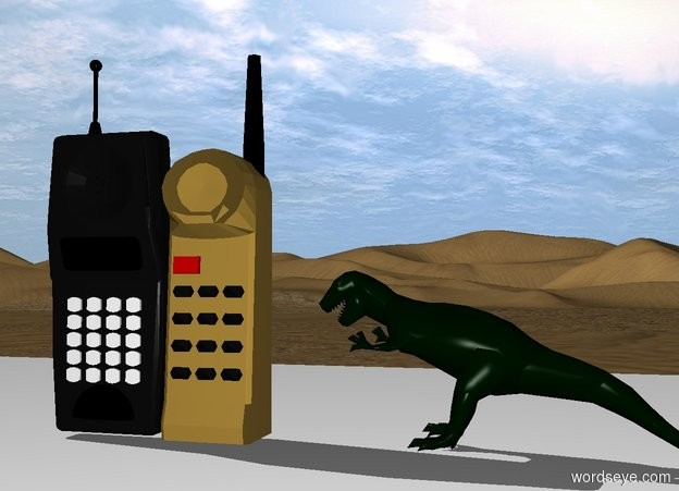 Input text: two cellphones are on the white counter.   a dinosaur is one inch to the right of the cellphones. it is three inches tall. it is facing left.
