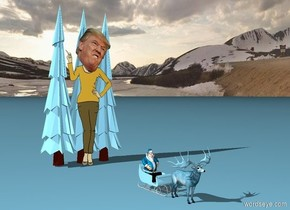 The ground is sky blue. The sky blue sled is 20 feet in front of three sky blue pine trees. The pine trees are 35 feet tall. A sky blue Irish elk is in front of the sled. A sky blue Santa is on the sled.  the thirty foot tall Trump is in front of the trees.