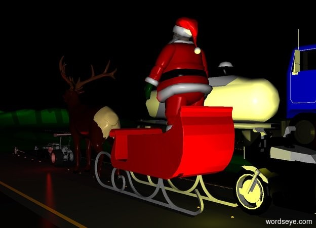 Input text: santa is on a sleigh. the sleigh is on a road. a reindeer is in front of the sleigh. a car is in front of the reindeer. the road is on a green mountain range. a second road is next to the road. the first truck is on the second road. a third road is in front of the second road. a second truck is in front of the first truck. a motorcycle is behind the sleigh. the sky is black. the sleigh is red. it is night. a yellow light is behind the sleigh. a red light is in front of the reindeer