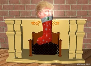 a stocking is in front of a fireplace. a brick wall is behind the fireplace. the ground is wood. the stocking is 1 feet above the ground. a small head is -4 inches above the stocking