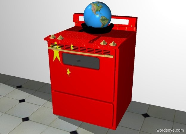 Input text: the  small earth is in the big black frying pan. the frying pan is on the surface of the chinese stove. the ground is tile. the stove is in front of the wall.