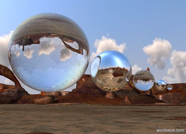 Input text: a large glass sphere is 3 feet above the ground.  a silver sphere is to the right of the sphere. a small glass sphere is to the right of the sphere. a tiny silver sphere is to the right of the sphere. a very tiny glass sphere is to the right of the sphere.