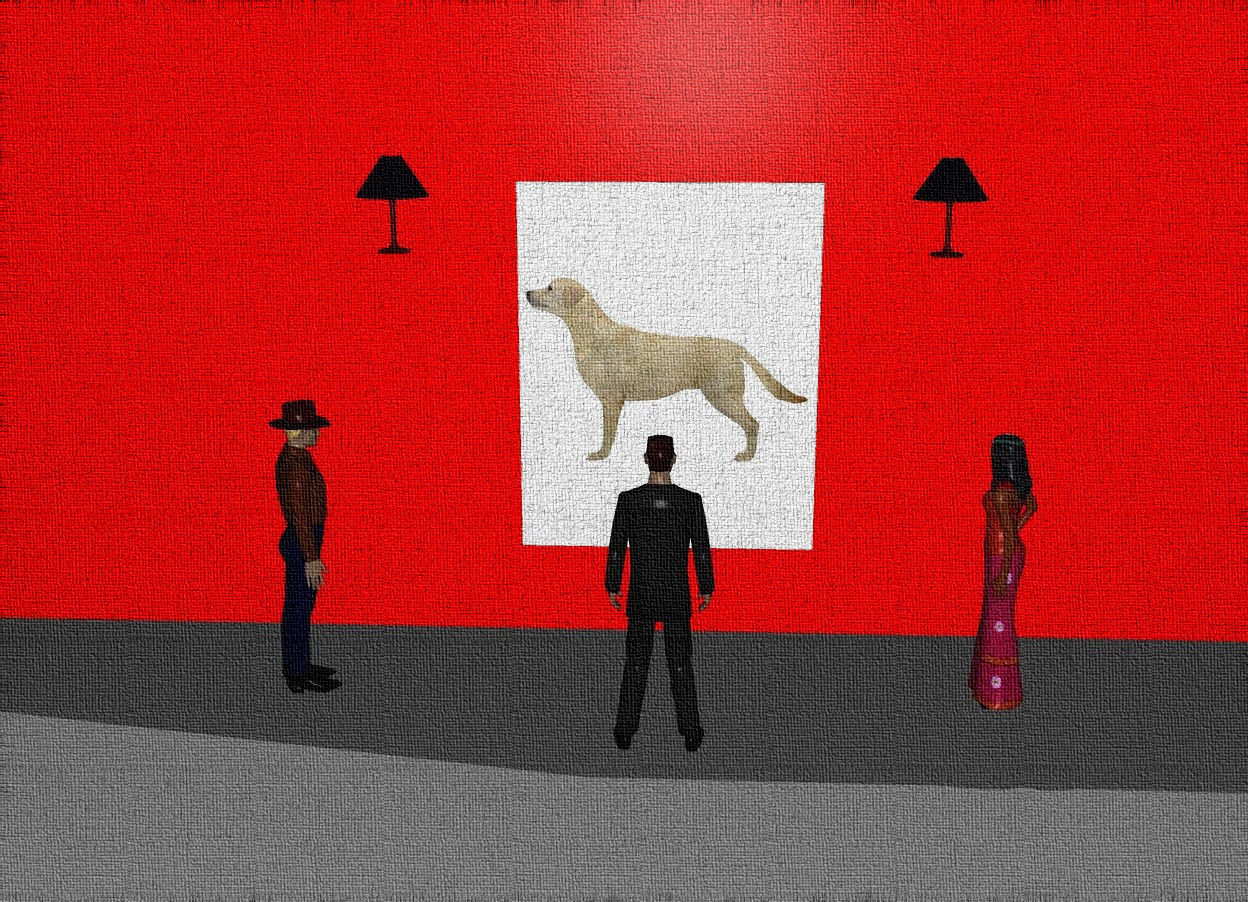 Input text: There is a giant red wall. A canvas is in front of the wall. The canvas is leaning 90 degrees to the back. The canvas is 2 feet above the ground. The canvas is white. A man is 2 feet in front of and 3 feet to the left of the canvas. The man is on the ground. The man is facing the canvas. A woman is 12 feet to the right of the man. The woman is facing the canvas. An apple is 1 inch in front of and 1 inch to the left of the wall. A large dog is 1 inch in front of the canvas. The large dog is facing the apple. The dog is -6 feet above the canvas. The dog is 0.1 inches wide. The ground is grey. The 1st lamp is 2 feet to the left of and 0.5 foot above the dog. The 2nd lamp is 2 feet to the right of and 0.5 foot above the dog. A man is 5 feet in front of the canvas and on the ground. The man is facing the canvas.