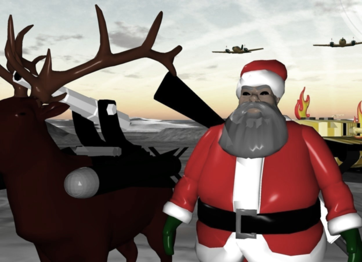 Input text: Santa. a big weapon is -8 inch behind santa. the weapon is facing east. it is leaning 45 degrees to the south. it is 1 feet off the ground. a reindeer is next to santa. a cannon is -3 feet above the reindeer. a big missile is -15 inches east of the reindeer. it is 3.5 feet off the ground. another big missile is -15 inches west of the reindeer. it is 3.5 feet off the ground. a big [black] tank is 30 feet north of santa. it is facing southeast. a huge flame is on the tank. another huge flame is -10 feet east of the tank. it is 4 feet off the ground. an airplane is 150 feet north of santa. it is 35 feet off the ground. another airplane is 18 feet west of the airplane.