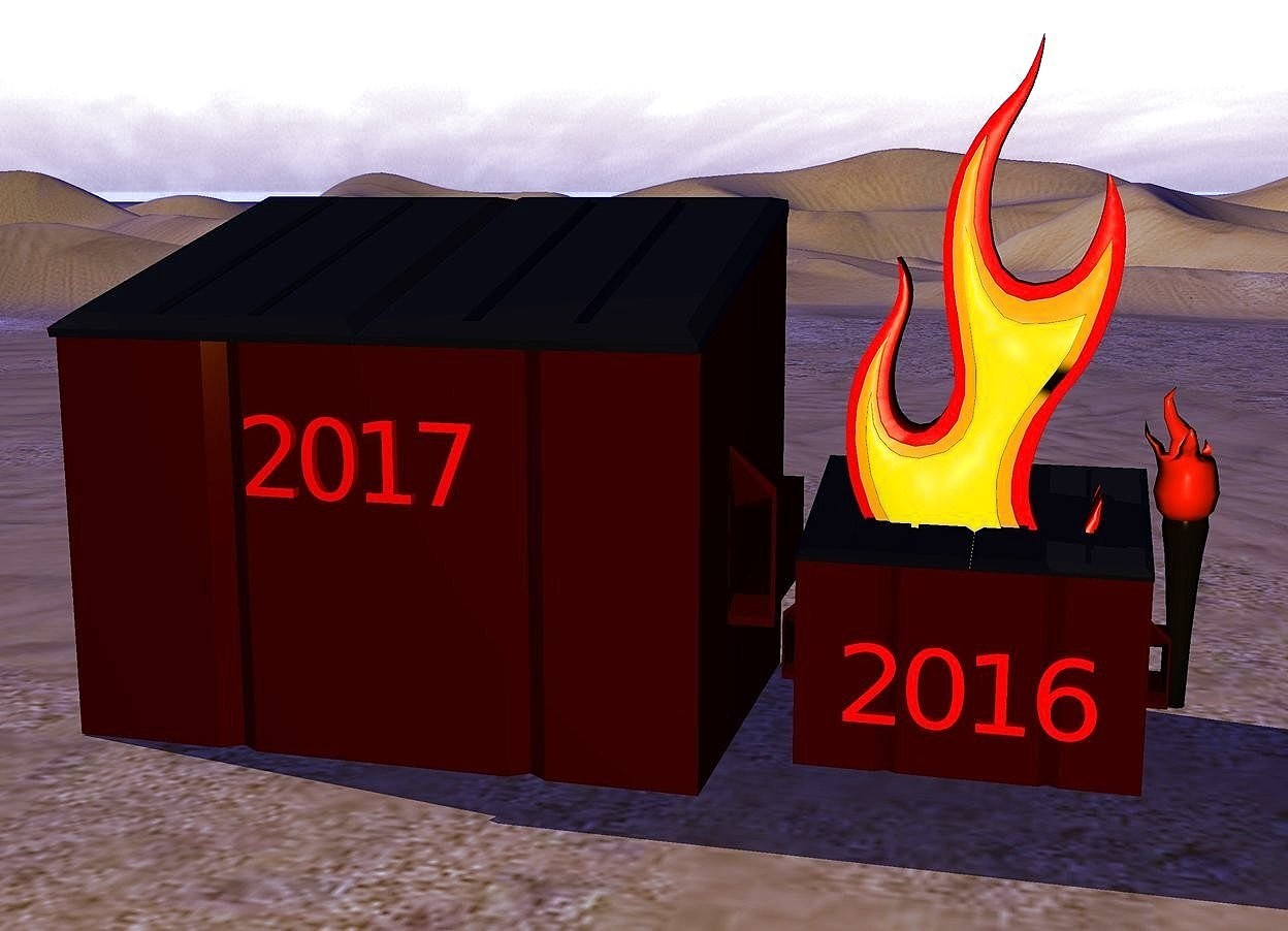 "Input text: a dumpster. an enormous fire is -2 foot above the dumpster. A red ""2016"" is .1 inch in front of the dumpster. ""2016"" is 1 foot off the ground.  a big dumpster is next to the dumpster. a big torch is 6.4 feet east of the dumpster. it is 1 foot off the ground. a red ""2017"" is .1 inch in front of the dumpster. it is 5 feet off the ground. the ambient light is blue. the sun is white. the camera light is yellow."
