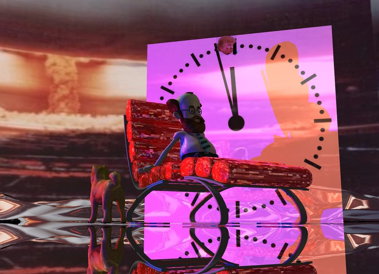Input text: the shiny [clock] wall is 8 feet wide. the very tiny black sphere is in front of the wall. it is 7.1 feet above the ground. the small head is -2 inches to the left of the sphere. the shiny red chair is 3 foot in front of the wall. it is facing southeast. the small man is on the chair. the [nuclear] texture is on the sky.  the texture is 3000 feet tall. the ground is silver. the dog is -1 foot to the left of the chair. it is facing northwest. the red light is 3 feet to the left of the dog. the blue light is 3 feet in front of the red light. the dim green light is above and 4 feet in front of the wall. the camera light is black. the dim tan light is above and two feet to the right of the man.