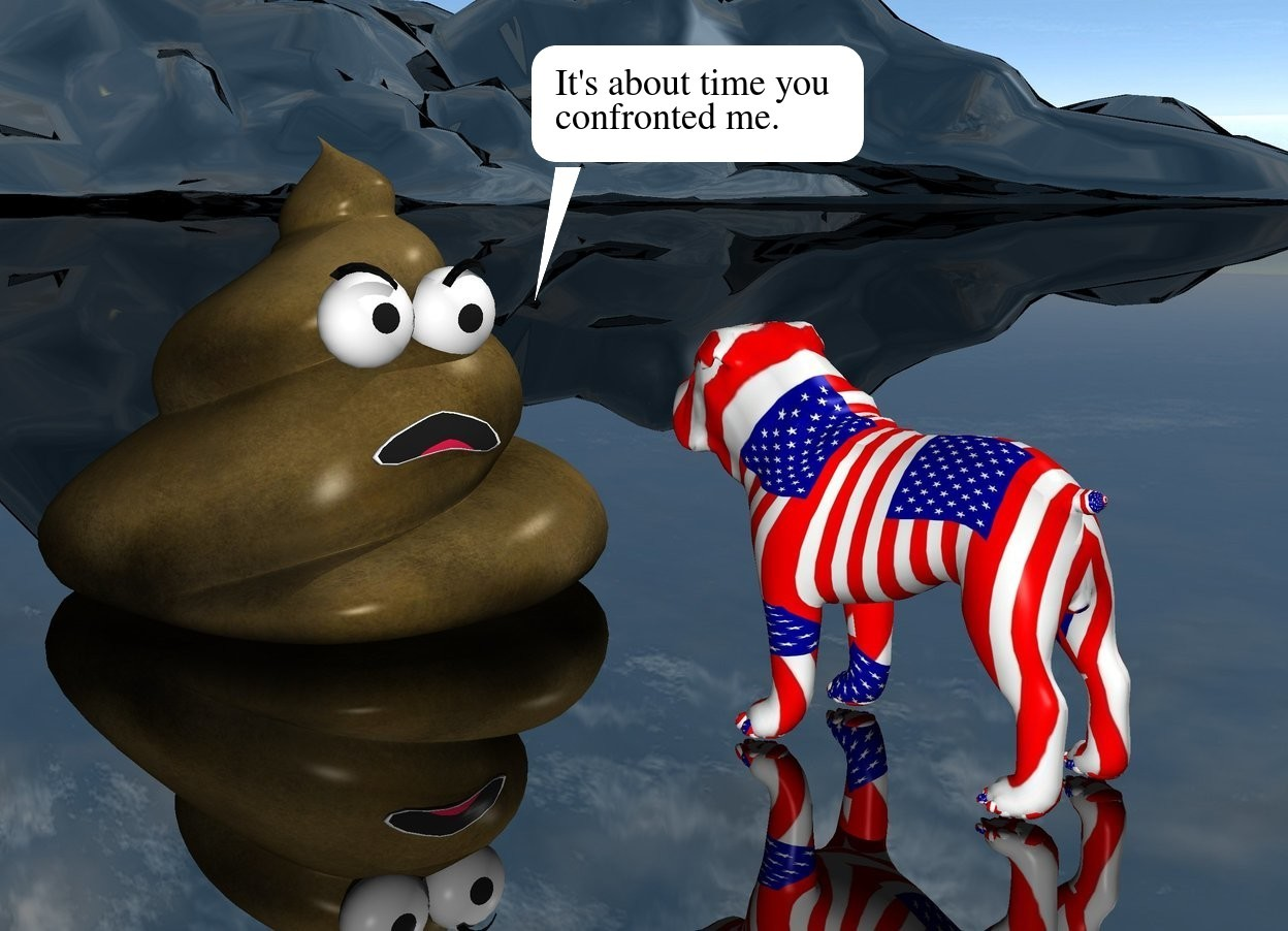 Input text: the [flag] texture is on the dog. the texture is 6 inches tall. The huge poop is 1 foot in front of the dog. It is facing the dog. The ground is shiny black.