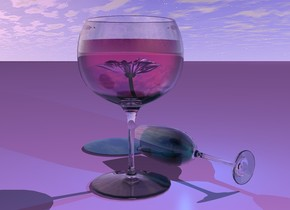 There is a very large wine glass. The liquid of the wine glass is hot pink. A very large glass is next to the wine glass. The fluid of the glass is bright teal. The glass is leaning 90 degrees to the front. There is a clear small teal puddle 1 inch in front of the glass. There is a teal light 6 inches in the glass. There is a  purple reflective flower 12 inches in the wine glass. A pink light is above the flower. The ground is lavender.