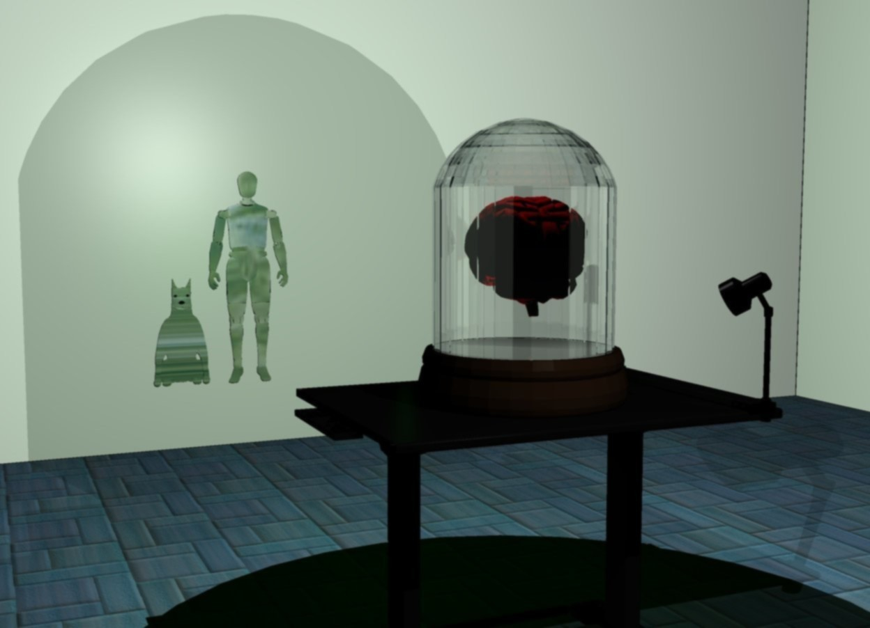 Input text: a big clear jar is on a table. the jar's bell is invisible. a room. the table is -10 feet north of the room. the table is facing north. a pink brain is -1.4 foot above the jar. the brain is facing north. a bright red light is -7 inches above the jar. the sun is black. the ambient light is black. the camera light is black. a bright white light is just above the jar. another bright red light is -24 inches above the jar. a dim white light is 1 foot south of the jar. it is 3 feet off the ground. a dim green light is 1 foot north of the jar. a small flat man is 7.01 feet north of the table. the man is glass. the man is 1 feet off the ground. a small flat dog is just left of the man. the dog is glass.
