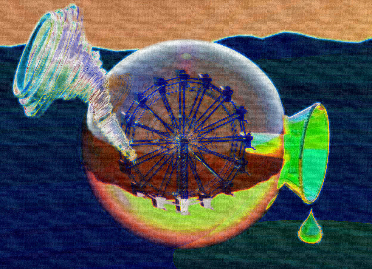 Input text: a 20 inch tall clear green yellow  sphere.sky is ink blue..ground is 70% dim rust.a 15 inch tall clear white tornado is -10 inch left of the sphere.ambient light is gold.tornado is facing the sphere.tornado is -14 inch above the sphere.tornado leans 45 degrees to back.camera light is white.a 10 inch tall silver ferris wheel is 15 inch in the sphere.a 10 inch tall clear green funnel is -10 inch right of the sphere.the funnel leans 90 degrees to southwest..the funnel is -18 inch above the sphere.a 1st 4 inch tall clear green drop is -4.5 inch right of  the funnel.the 1st drop is -18 inch above the funnel.