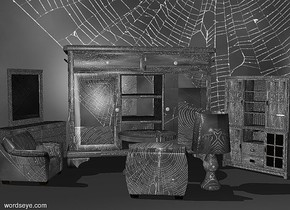 a 1st  tall [spider] buffet.left of the 1st buffet is a 1st  [spider] armchair.the 1st armchair is facing right.the 1st armchair is in front of the 1st buffet.in front of the 1st buffet is a [spider] table.the 1st buffet is 80 inch tall.in front of the table is a 2nd [spider] armchair.the 2nd armchair is facing the table..right of the 2nd armchair is a [spider] lamp.the lampshade of the lamp is [spider].the lamp is 40 inch tall.left of the 1st  buffet is a   [spider] dresser. the dresser is facing the lamp.right of the 1st buffet is a 2nd [spider] buffet. the 2nd buffet is facing the lamp.the 2nd buffet is in front of the 1st buffet.the dresser is 65 inch tall.behind the 1st buffet is a   [spider] wall.the wall is 250 inch tall and 850 inch wide.the ground is [spider].the countertop of the  buffet is [spider].