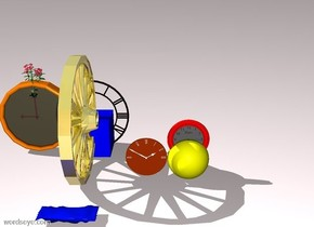A yellow sphere. A red stripe is in the middle of the sphere. A flower is in the middle of the wall clock. A clock is next to the sphere. The ground is pale pink. A blue cube is to the right of the wall clock. A big clock is in the middle of the cube. A 3 foot tall gold wheel is in front of the clock. A huge chocolate bar is in front of the wheel.