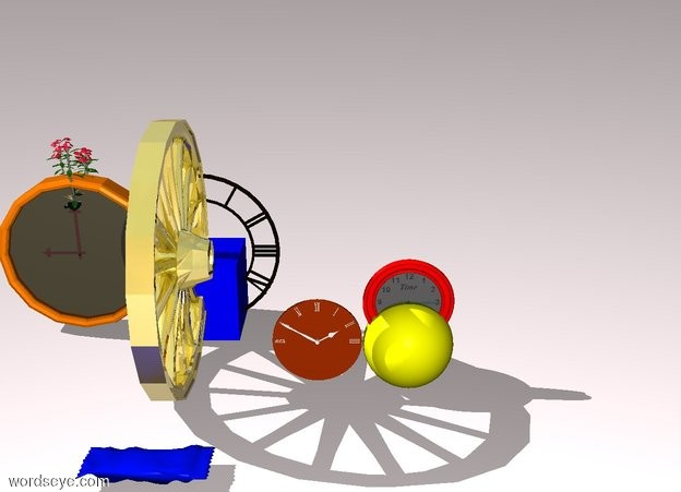 Input text: A yellow sphere. A red stripe is in the middle of the sphere. A flower is in the middle of the wall clock. A clock is next to the sphere. The ground is pale pink. A blue cube is to the right of the wall clock. A big clock is in the middle of the cube. A 3 foot tall gold wheel is in front of the clock. A huge chocolate bar is in front of the wheel.
