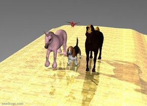 The big dog is on the gold brick road. The huge bird is 2 feet above the dog. The horse is 1 foot to the right of the dog. The pink unicorn is 1 foot to the left of the dog.