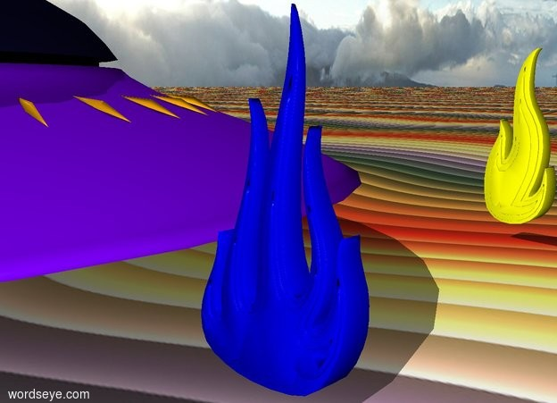 Input text:  A blue flame. A pink and yellow flame is next to the blue flame.  A tiny flying saucer is to the left of the blue flame. The ground is rainbow.