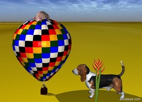 The pig is in the tiny hot air balloon. The ground is [cat]. The big dog is facing the pig. A big flower is in front of the dog