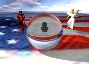 There is a 200 feet tall and 200 feet wide transparent sphere.  There is a humongous man 100 feet inside the sphere.  The ground is the [flag].  There is a humongous devil left of the sphere.  The devil is 100 feet above the ground.  The devil is 50 feet to the left of the sphere.  There is a humongous angel right of the sphere.  The angel is 100 feet above the ground.  The angel is 50 feet to the right of the sphere.