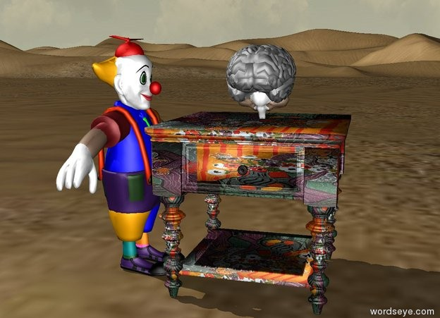 Input text: a small man facing a matisse table in the desert. a brain on the table.