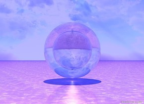 it is noon. the ambient-light is blue. a translucent sphere.the sphere is 20 feet tall. the white light is under the sphere.  the water ground is pink. the translucent sphere is 15 feet inside the sphere. the sphere is 10 feet tall.
