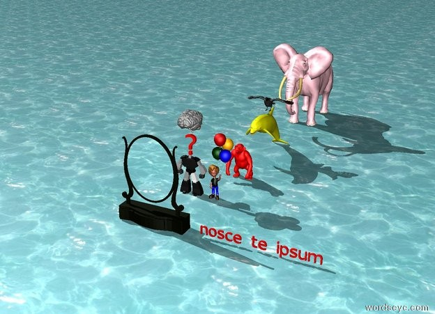 "Input text: A pink elephant is on the sea. A yellow dolphin is in front of the elephant. A red chimpanzee is 1 foot in front of the dolphin.  a large black bird is above the dolphin. A boy is 2 feet in front of the chimpanzee. A small robot is left of the boy. A red ""?"" is above the robot. a large brain is above the ""?"". A large dressing mirror is 4 feet in front of the robot. a small red ""nosce te ipsum"" is 1 foot right of the mirror."