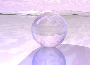 the ground is shiny.  a translucent sphere is on the ground. a [texture] infant is 16 inches inside the sphere. white light in front of the infant. the blue light is 10 inches in front of the sphere. the sphere is 2 foot tall. the infant is leaning 315 degrees to the right.  The infant is dead.