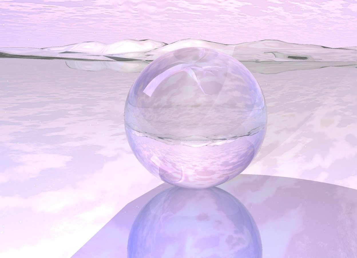 Input text:  the ground is shiny.  a translucent sphere is on the ground. a [texture] infant is 16 inches inside the sphere. white light in front of the infant. the blue light is 10 inches in front of the sphere. the sphere is 2 foot tall. the infant is leaning 315 degrees to the right.  The infant is dead.