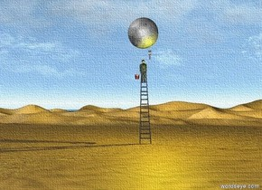 Desert.  A black ladder is on the ground. A man is 16 feet above the ground on the ladder. The very huge yellow moon is three feet above the man. A huge brush is above the man and 5 inches to the right. the brush is upside down. the yellow light is 20 feet above the ground. a bucket is 17 feet above the ground on the left of the man.