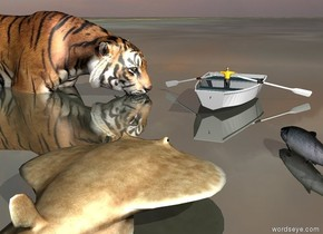 a large fish is on the shiny [stars] ground. it is cloudy. the white dinghy is 6 feet in front of the fish. the very small man is in the dinghy. he is facing backwards.   the huge tiger is to the right of the boat. it is in the ground. it is facing the man.  the 2nd large fish is 6 inches to the left of and in front of the fish. it is facing the man.