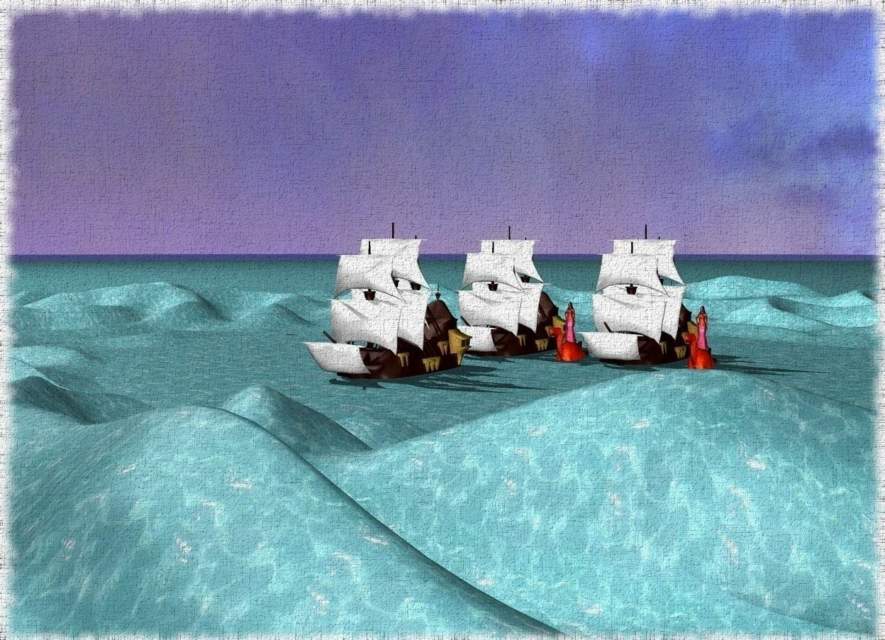 Input text: A large woman is on top of a large dragon. The woman is inside the dragon. The dragon is inside the ground.  The ground is water.  there is a ship 2 feet to the left of the dragon.  There is a 2nd large dragon on the left of the ship.  The dragon is inside the ground. There is a 2nd large woman on top of the dragon.  There is a 2nd ship 7 feet to the left of the 2nd dragon.  There is a 3rd ship 9 feet in front of the ship.