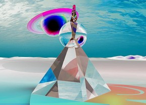 a large translucent pyramid.a translucent sphere.the sphere is in the pyramid.a tiny woman is inside the sphere.a cyan light is left of the pyramid.a green light is right of the pyramid.a red light is 6 inches above the woman.a yellow light is 200 feet behind the pyramid.a tiny planet.the planet is 2 feet above the ground.the planet is behind the pyramid.the planet is 4 inches left of the pyramid.the planet is leaning right.the yellow light is 1 foot left of the pyramid.