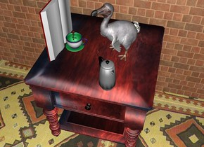 a large table. behind the table is a huge wall. the wall is brick. the ground is texture. the dodo is on the table. the dodo is facing southwest. a  large book is on the table. the book is facing the dodo. a large cup is on the table. the cup is left of the dodo. the coffee pot is in front of the dodo. the coffee pot is facing southeast. a small rose is in the cup