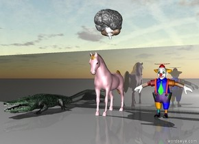the huge shiny black cube is 2 feet behind the small clown. the cube is 30 feet wide. the small pink horse is one foot to the left of the clown. the small green crocodile is 2 feet to the left of the horse. a large brain is 1 foot  above the horse.