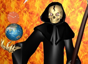 There is a large grim reaper on the ground.  There is a small earth on the left of the grim reaper.  The earth is 8 feet above the ground.  The grim reaper is 12 centimeters to the left.  There is a 50 foot wide and 50 foot tall [fire] wall behind the grim reaper on the ground.  There is a clock above the earth. The clock is facing southeast.
