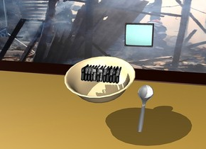 The ground is stone.  There is a 7 foot wide bowl 7 feet above the ground.  There are 12 large guns in the bowl. the guns are facing north.  The bowl is leaning forward.  There is a 7 foot long spoon to the right of the bowl. The spoon is leaning forward.  There is an enormous desk 2 centimeters under the bowl.  There is a large tv 15 feet behind the desk.   The tv is facing south. The tv is 8 feet above the ground. There is a huge [war] wall behind the tv. The wall is on the ground.