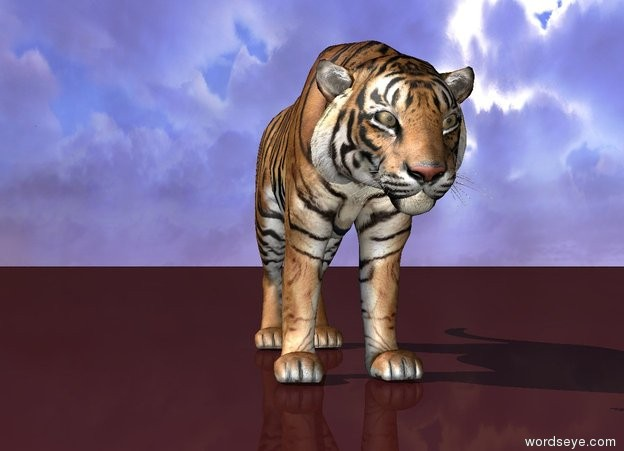 Input text: a tiger on the brown ground