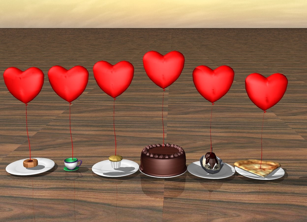 Input text: The ground is wood.   There is a red heart on the muffin. There is a plate under the muffin.  The 2nd red heart is on the donut. there is a plate under the donut.  The 3rd red heart is on the cup.  The 4th red heart is on the pizza. there is a plate under the pizza.  The 5th red heart is on the banana split.there is a plate under the banana split.  the 6th red heart is on the chocolate cake. there is a plate under the chocolate cake.