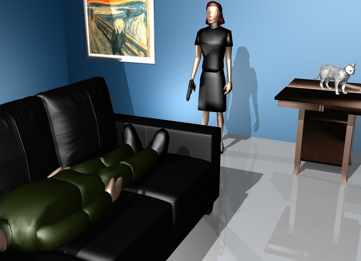 Input text: a man is on a 4 feet tall couch. the man is facing right. the man is leaning 90 degree to the back.   There is a woman 4 feet right of the couch. she is facing the man.   There is a beretta -0.4 feet behind the woman. it is -0.4 feet left of the woman. it is 2 feet above the ground. it is leaning 50 degree to the front. it is facing the man.    there is a 3 feet tall table 2 feet in front of the woman.   There is an asphalt cat on the table. it is facing southwest.   there is a wall 7 feet behind the couch. it is 40 feet long and 20 feet high. it is petrol blue.  there is a wall 7 feet right of the couch. it is facing the couch. it is 40 feet long and 20 feet high.it is petrol blue.  there is a light 2 feet behind the woman.  there is a large scream picture 2 feet right of the woman. it is 3 feet behind the woman. it is facing west. it is 3 feet above the ground.