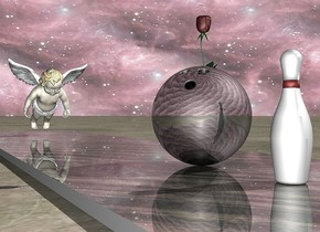 the black shiny bowling ball is on the shiny wood floor. the bowling pin is .5 foot in back of the bowling ball. the blossom is in the ball. the floor is 3 feet wide. the bowling ball is 1 inch above the floor. the sky is [texture]. the [texture] is 1000 feet tall. the ground is dirt. the stone cherub is 5 feet in front of the ball. it is facing the ball. it is leaning 30 degrees to the back. it is face down.