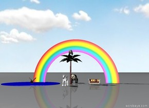 The small palm tree was a yard away from the couch. A panda sat in the tree. A unicorn sat a yard in front of the palm tree.  The pond beside the palm tree was blue. A large duck was in the pond.   A large panda was behind the palm tree.  A small rainbow was two yards behind the palm tree.