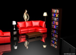 The sky is shiny black. It is night.  The ground is shiny black.  There is a red sofa.  There is a small table to the left of the sofa. There is a lamp on the table.  There is a lamp to the right of the sofa.  There is a bookcase one meter to the right of the lamp. The bookcase is facing left.  There is a small coffee table in front of the sofa. There is a small coffee table to the left of the coffee table.  There is a television 3 meters in front of the sofa. The television is facing backward.  There is a woman behind the sofa.  There is a chair 1 meter to the left of the coffee table. It is facing right. It is red.  There is a light 2 meters above the coffee table.