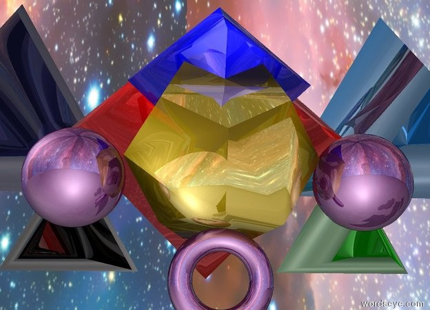 Input text: The huge shiny gold dodecahedron is 15 feet above the ground.   The huge shiny blue octahedron is inside of the huge shiny gold dodecahedron.  the huge shiny purple torus is below the huge shiny gold dodecahedron.    the huge shiny purple sphere is to the left of the huge shiny gold dodecahedron.    the enormous shiny marine blue tetrahedron is 5 feet behind and 3 feet above and 3 feet to the left of the huge shiny gold dodecahedron.   the big shiny purple orb is to the right of the huge shiny gold dodecahedron.   the enormous shiny red octahedron is behind the huge shiny gold dodecahedron.  the huge shiny green tetrahedron is 2 inches behind and 3 inches right of the huge shiny gold dodecahedron.  the huge shiny silver tetrahedron is 2 inches behind and 3 inches left of the huge shiny gold dodecahedron. the sky is [space].   the enormous shiny dodger blue  tetrahedron is 5 feet behind and 3 feet above and 3 feet to the right of the huge shiny gold dodecahedron.