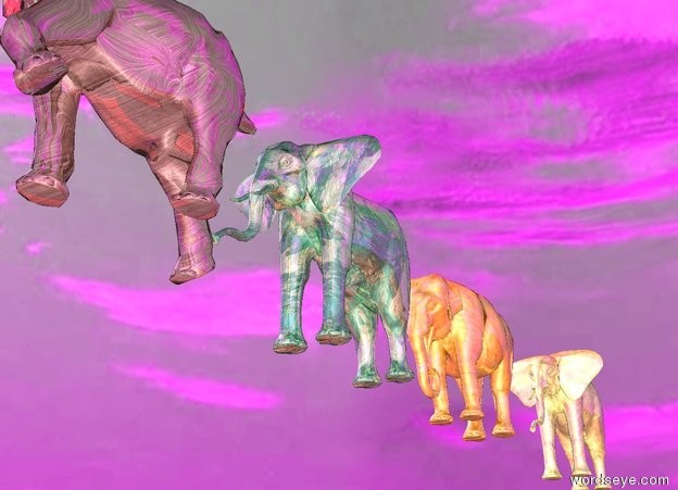 Input text: the ground is glass.  the sky is cloudy and purple.  the glass elephant is 10 feet above the ground.  the red light is above the elephant.  there is another glass elephant 2 feet behind the elephant.  there is another glass elephant 5 feet behind the elephant.  There is another glass elephant 29 feet in front of the elephant.