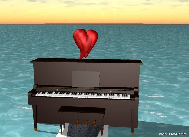 Input text: Piano on the sea. Center sidewalk. 1 heart on the piano.