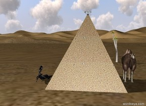 There is one very big sand pyramid in the desert. there is very big pearl in pyramid. A very small camel on the right of pyramid. One small palm tree very far behind camel  .  a very big scorpion behind left of the pyramid